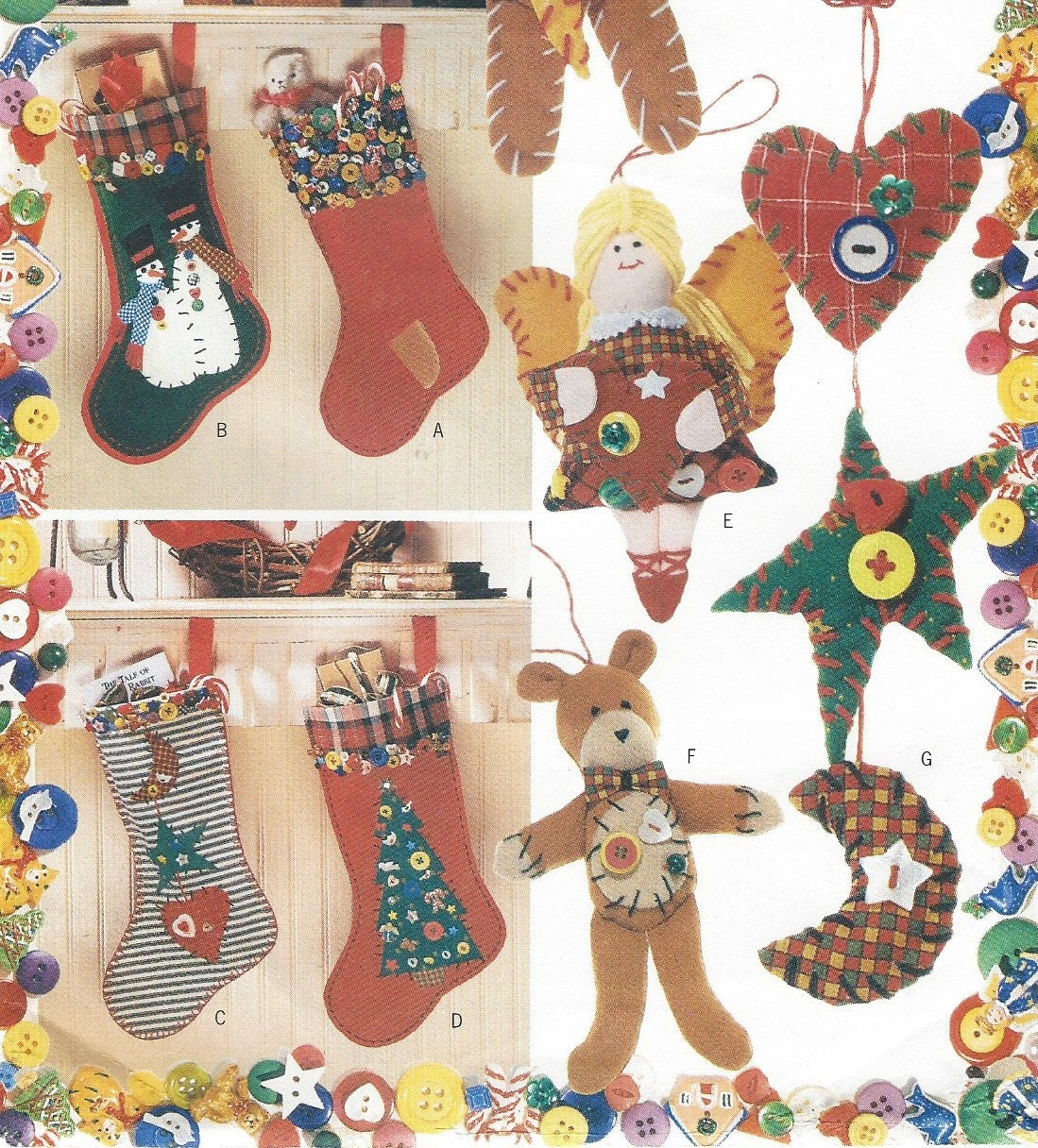 S christmas button stockings and ornaments butterick sewing