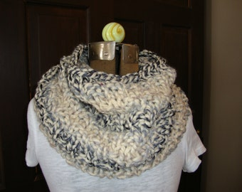 Cowl Hand knitted in Shades of Grey and Creme