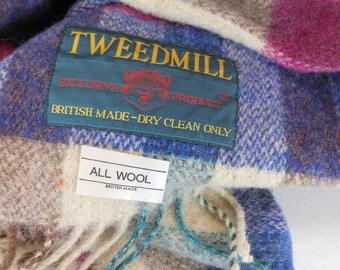 Small TWEEDMILL Lap Blanket Shawl Fringed Plaid Lambswool