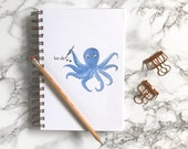 Octopus Illustration. Bullet Journal Notebook. Spiral Notebook. Graph Paper. Dot Grid Paper. Dotted Paper. Blank Paper.