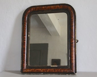 Antique French Mirror with Original Faux Tortoise Shell Paint Finish, Louis Philippe Mirror, Louis Xv