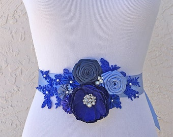 Blue Flowers Sash Belt - Cobalt, French, peacock Blue Flower Swarovski Sew on Crystals and Pearls - Bridesmaid, Special Event