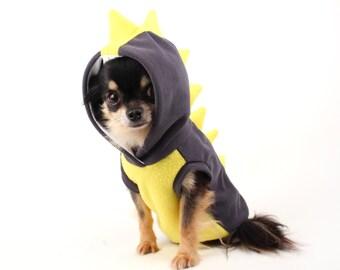 SALE Dog Costume Dinosaur Spikes Grey and yellow fleece dog Hoodie dragon costume