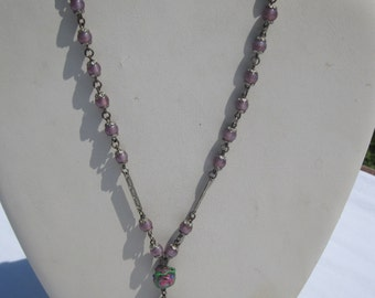 Vintage Purple Venetian Glass Bead Necklace