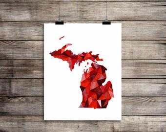Michigan Love, Michigan Print, Michigan Map, Michigan Art, Michigan Decor, Michigan Gift, Michigan State, State Map, State Art, The Big Lake