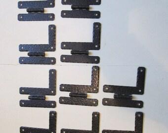 Vintage Hammered Steel BLACK Cabinet Door HINGES H-L Flush Mount Style Used