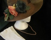 Custom Tea Party Hat Set with Gloves & Vintage Beads