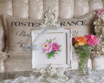 Charming Hand Painted PINK ROSES Framed TILE, Shabby Chic, Cottage