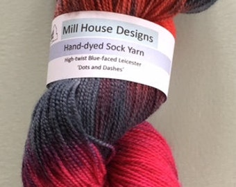 Hand-dyed High-twist Blue-faced Leicester sock yarn