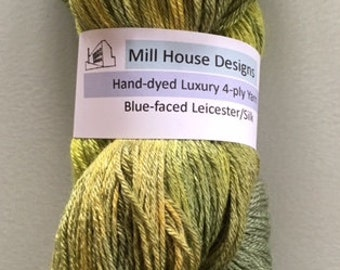 Hand-dyed Blue-faced Leicester/Silk Luxury yarn