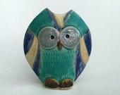 Handmade stoneware small owl vase