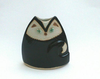 Black Cat Vase Unusual Handmade Pottery Vessel