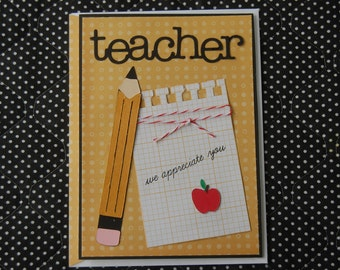 Teacher Appreciation Note Card and Coordinating Envelope