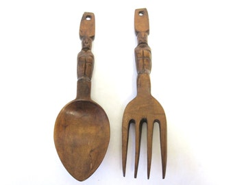 Oversized Fork And Spoon Wall Hanging Wood