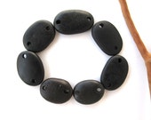 Beach Stone Beads Mediterranean Rock Connectors River Stone Beads DIY Jewelry Natural Stone Beads BLACK LINKS 20-26 mm