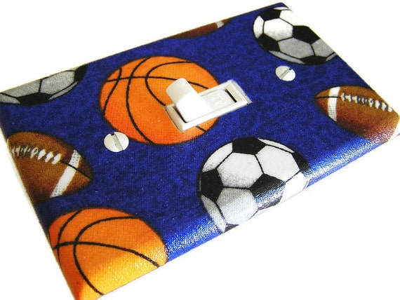 Sports Balls Light Switch Cover Plate Switchplate Sports Decor