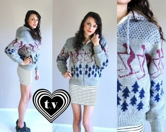 vtg 70s gray SKIER novelty print HOODED COAT retro M faux shearling outerwear jacket kitschy winter fuzzy warm