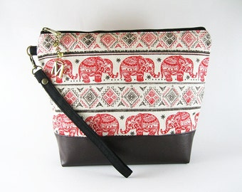 Personalized Monogramed Wristlet Clutch,  Elephant Wristlet, Elephant Clutch