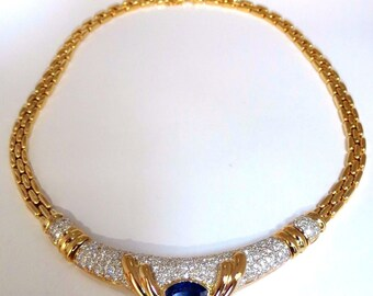 GIA Certified 3.35ct natural blue sapphire 4.20ct. diamonds necklace 18kt