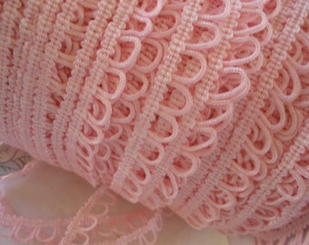 """Pink Chainette loop trim 1/2"""" wide 3 yards button loop braid non elastic bridal costume home decor embellish doll clothes gimp black white"""