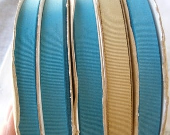 "Vintage Grosgrain Ribbon Teal or Beige 72 Yard Spool 1/2"" Nylon Grosgrain Ribbon 1980s craft costume Hair Embellishment Floral haberdashery"