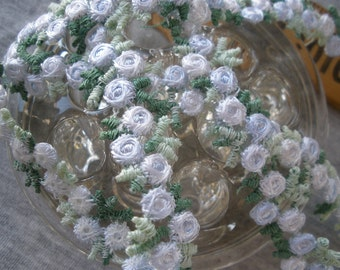 """Embroidered Floral 1/2"""" Rayon Venise Lace trim shade periwinkle color Rose chain applique white & green leaves by the yard embellishment"""