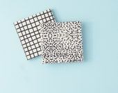 Grid and Dots Coasters Graphical Modern Minimal Ceramic Tile Coasters