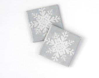 Snowflake Coasters Christmas Gift Silver Metallic Festive Holiday Coasters Hostess Gift Christmas Decor