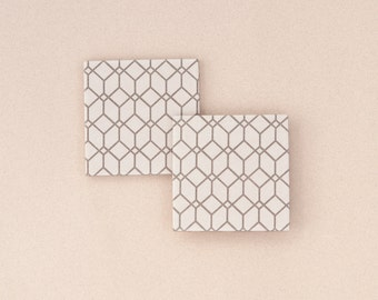 Geometric Coasters Cubism Inspired Soft Taupe Neutral Modern Minimal Ceramic Tile Coasters Gift for Him Coasters for Men