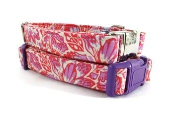 Girl Dog Collar - Pink and Purple Floral Dog Collar - Floral Dog Collar - Pink Dog Collar - Female Dog Collar - Fancy Dog Collar