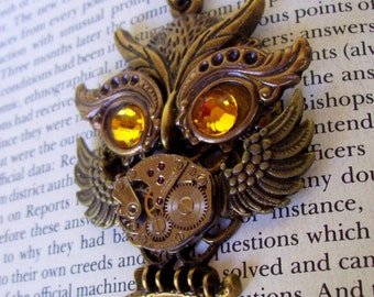 Steampunk Necklace (N630) Owl Pendant, Dame Edna Owlet, Steampunk Owl, Swarovski Crystals, Brass Chain