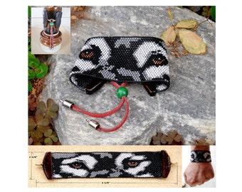Loom Beaded Wolf's Eyes Seed Bead Cuff Bracelet