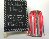 10 Mini Wedding Ribbon Wands Red and White