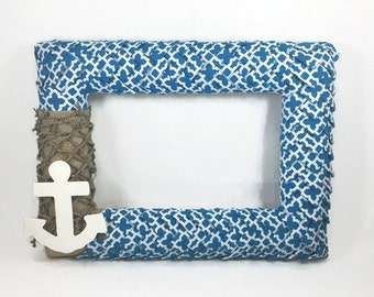 5x7 Burlap and Beach Themed Ribbon Picture Frame, Anchor Decor, Burlap Picture Frame, Blue Picture Frame, Beach Decor, Summer Decor