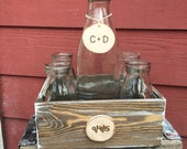 Custom Rustic Milk Jar Sand Ceremony Set Country Barnyard Rustic Farmhouse Wedding Family Sand Ceremony