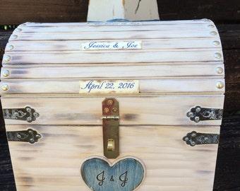 Large Wooden Chest Nautical Beach Wedding Card Money Box