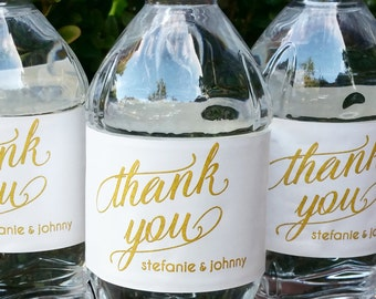 Thank You Wedding Water Labels Printed with FREE Shipping or Printable