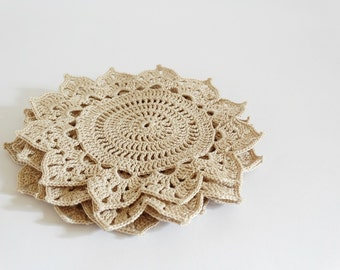 Rustic Crochet Coasters, Modern Flower Doilies, Set of 4 Sunflower Coasters, Coffee Table Decoration, Christmas Gift for Her