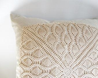 Decorative Pillow Case 17x17, Crochet Appliqued Pillow Cover, Rustic Home Decor Pillow