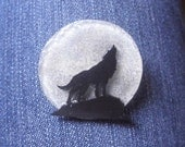 Sparkly Moonlight Wolf Brooch - Moon Brooch - Wolf Brooch - Luna - Shrink Plastic - Wearable Art - Mystical - Black - White - Neonne Luna