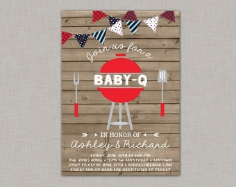 BBQ Baby Shower Invitation, Baby Q Invitation, 4th of July, July 4th, Baby Shower
