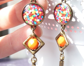 FREE SHIPPING Retro Smarties Handmade Resin Geometric Earrings - Light Weight - Orange - Colorful - Candies - Gift Ideas - For Her