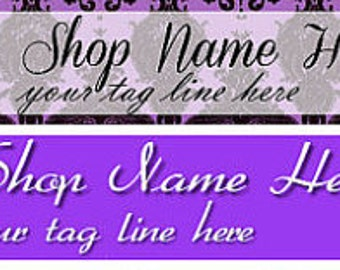Large Etsy Facebook Cover Photo Ready Made Premade Purple Sparkle Butterfly Shop Banner- Pick one