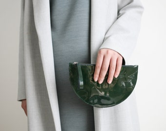 Half Moon Clutch Mini Forest Green Patent, Wallet, Bridal Bag, Leather Clutch, Evening Bag, Leather Purse
