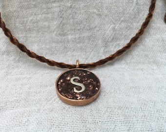 Star - Initial Pendant Necklace with Copper Accents