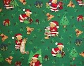 Christmas Fabric, By The Yard, Santa Bears, Christmas Tree Fabric, Seasons Greetings, Quilting Fabric, Sewing Crafting Fabric