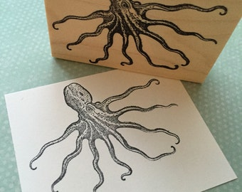 Very Cool Octopus Wood Mounted Rubber Stamp  5919