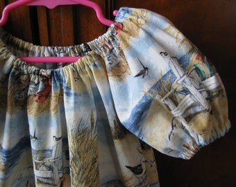 Clearance Girls Peasant Dress - This Way to the Beach - Short Sleeve - Size 5 - Ready to Ship