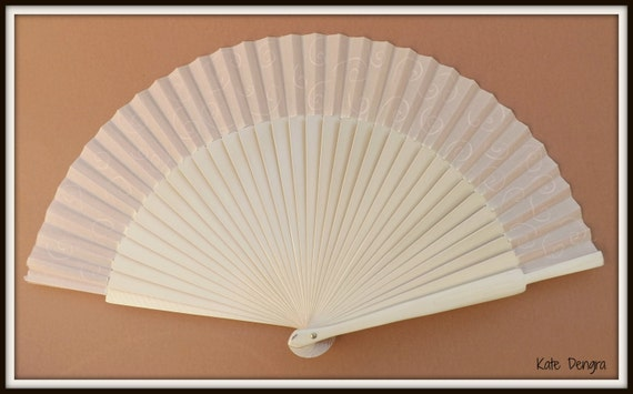 MTO Cream Swirl Bridal Hand Painted Wooden Hand Held Fan WEDDING