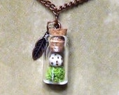 "Terrarium Necklace ""NESTING"" Handmade Bird Egg on Bed of Moss In Glass Vial,  18"" Copper Chain"